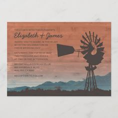 Western Windmill Wedding Invitations Western Wedding Invitations, Wedding Invitation Size, Country Wedding Invitations, Invitation Card Design, Wedding Themes, Bridal Shower Invitations, Custom Invitations, Wedding Ideas, Farm Wedding