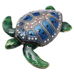 Crystal-Detailed Enamel Box - Sea Turtle