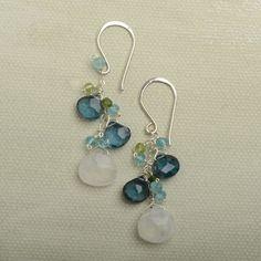 moonstone dangle earrings long silver earrings london by izuly, $89.00