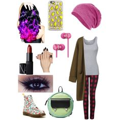 Random cute outfit by tessiesvega on Polyvore featuring polyvore, fashion, style, Splendid, Dex, Dr. Martens, Alisa Smirnova, Beats by Dr. Dre, Casetify, NARS Cosmetics, Static Nails and Leg Avenue