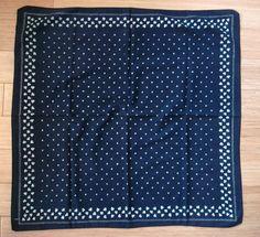 Vtg Black Cotton Bandana Shamrock Ditsy Pattern RARE
