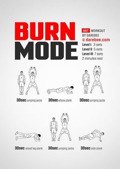 Burn Mode Workout Cardio, Workouts Hiit, Fitness Workouts, Tabata, At Home Workouts, Best Workout Routine, Workout Guide, Darbee Workout, Workout Programs