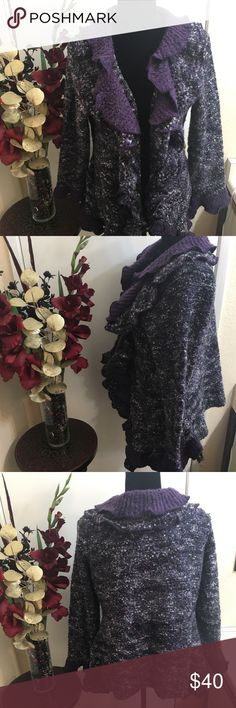 💜Ruffle knitted sweater 💜 Beautiful fall/winter sweater to add your closet. It has been worn with love. 💜 It is unique and different from any sweater you may own. No snags or stains. Dress Barn Sweaters Cardigans