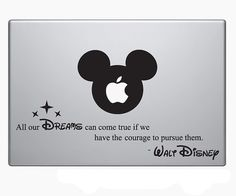 Cool Walt Disney Inspire Quote Laptop Vinyl Sticker Decal MacBook Apple Mickey Mouse Inspirational words to live by Mac Stickers, Mac Decals, Macbook Decal Stickers, Cool Stickers, Laptop Decal, Mac Laptop, Laptop Cases, Disney Mickey Mouse, Coque Macbook Air 13