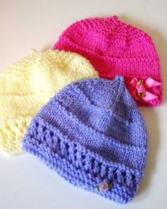 53 Ideas knitting patterns baby hats easy for 2019 Baby Hat Knitting Patterns Free, Baby Hat Patterns, Baby Hats Knitting, Loom Knitting, Free Knitting, Knitted Hats, Free Pattern, Knitted Baby Clothes, Knitting For Charity