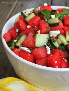 Watermelon Cucumber Salad with Feta, Lime, and Mint | ComfortablyDomestic.com