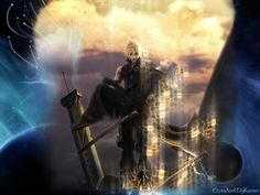 This has to be one of my absolute favourites! Final Fantasy 7 Advent Children. Cloud Strife is carrying Kadaj back through the lifestream. I love the detail both on the characters and on the background!