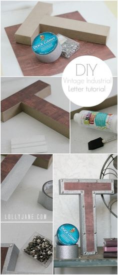Vintage Decor Diy Easy tutorial for vintage industrial letters! - vintage industrial letters- knock off from restoration hardware Industrial Interior Design, Vintage Industrial Furniture, Industrial Interiors, Industrial House, Industrial Office, Industrial Wall Letters, Modern Industrial, Rustic Industrial Decor, Industrial Lighting