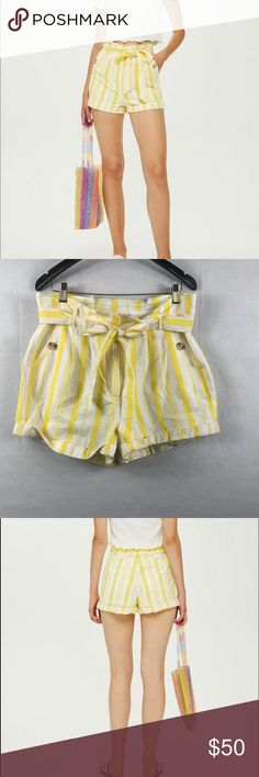 e8f55a04b3 Topshop stripe waist paper bag shorts white-Yellow Topshop stripe waist  paper bag shorts white