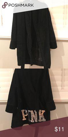 Cute Black VS PINK Robe with Sequins Super cute robe with sequins, great Condition PINK Victoria's Secret Intimates & Sleepwear Robes