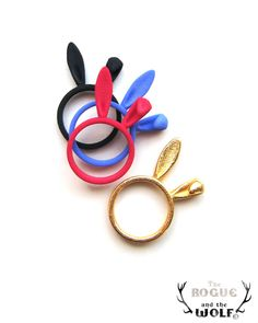 Blue Bunny Ring, Bunny Ears ring, Lovely whimsical ring, animal jewellery, Valentines gift, animal lovers, for the sweetheart of your life. $9.90, via Etsy.