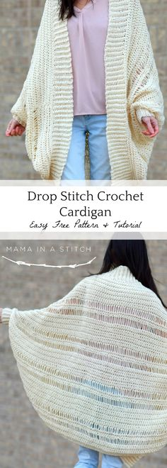 This oversized crochet shrug cardigan is drapey and really easy. Free beginner pattern to make your own crochet sweater!