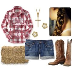 cute boots, plad, and jean shorts can not go wrong...
