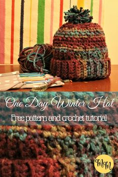 Make this cozy winter hat in one day! Easy step-by-step tutorial and free pattern!