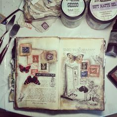 Marta Lapkowska: My desk and my art journal pages
