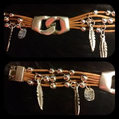 leather pewter with Sterling plated NEW only one Beautiful leather and silver beads and feather bracelet with 2 diff clasp. One is magnetic where the other is also the silver in front that can be undone. Very boho and sweet on. This one is smaller than the other one I have listed. This one is just under 8 inches in length. I have many more custom bracelets in my closet,if you see they are sold out just let me know the one you would like and I can make a new one for you. Jewelry Bracelets