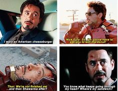 RDJ and his food. The funny thing is, on all these sets of these movies he had to go through extensive training that got his metabolism to burn very quickly, leaving him hungry most of the time. He was always hiding food on set and ad-libbing about it. The directors loved it so much they just kept the footage. This is another reason why I love this man.