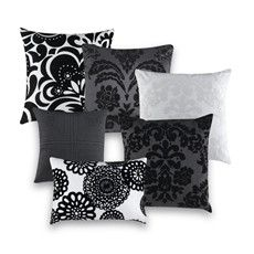 Black and white throw pillows that will go good with my grey & yellow room!