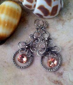 Gold swarovski crystal earrings in fine and by EdisLittleTreasures, $75.00