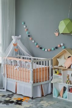 Crib skirt White Peach - Baby cot crib skirt by CotandCot on Etsy