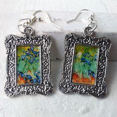 "Vincent Van Gogh ""Irises"" Earrings Frame Tibetan Silver Plated"