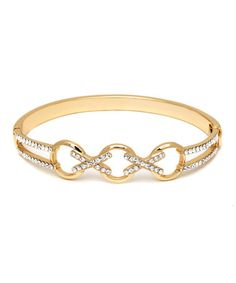 Loving this Gold Crisscross Hinge Bangle Made With SWAROVSKI ELEMENTS on #zulily! #zulilyfinds