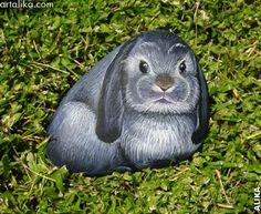 Hand painted rock. Grey black lop bunny