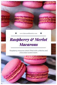 What could taste better than raspberries, red wine, and chocolate? If that sounds good, you need to make my recipe for Raspberry and Merlot Macarons! Freeze dried raspberries and red wine frosting are the stars. Raspberry Lemonade Cupcakes, Raspberry Cookies, Macaroon Cookies, Raspberry Macaroons, Cakepops, Baking Recipes, Dessert Recipes, Desserts, Cookie Recipes
