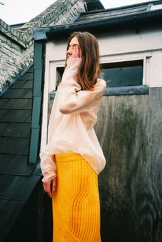Yellow Knitted Cotton Skirt | Annelise Armitage Knitwear