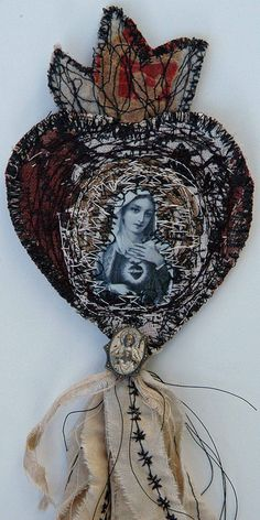 machine embroidered sacred heart