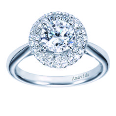 Let your love be the center of attention with an Amavida Engagement Ring by Gabriel & Co. The center is what it is all about! You can never have too many diamonds for the center stones. This engagement ring is absolutely unique and stunning!