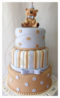 Baby Blue & Light Brown Stripes, Color Switch Polka Dots on Cake and Adorable Teddy Bear Topper. Looks like an adorable baby shower cake. Baby Cakes, Cupcake Cakes, Gateau Baby Shower, Baby Shower Cakes, Teddy Bear Cakes, Novelty Cakes, Gorgeous Cakes, Cakes For Boys, Love Cake