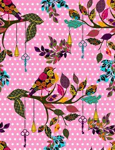 Tecido Pássaros bolinhas - Cor 01 www.elo7.com.br/modelarcasa  www.modelarcasa.com.br  www.facebook.com/modelarcasa  contato@modelarcasa.com.br