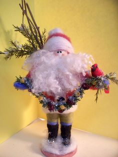Wool Santa and Cardinal 7 Felted by WhimsicalWoolies on Etsy, $72.00