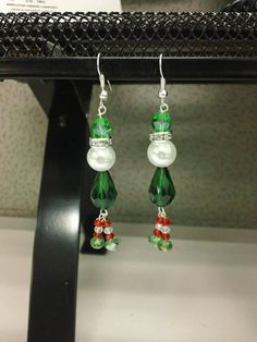 Christmas Earrings Elf Santa Snowman by LittleRGVshoppe on Etsy