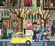 Friday Afternoon by Mariangeles Puente Duran - GINA Gallery of International Naive Art