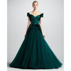 Zac Posen Sweetheart-Neck Ball Gown, Dark Green ($14,990) ❤ liked on Polyvore