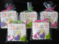 Thank you cookies- one large cookie, three mini cookies in each bag (message cookie ideas) Thank You Cookies, Mini Cookies, Fancy Cookies, Valentine Cookies, Iced Cookies, Cute Cookies, Cupcake Cookies, Sugar Cookies, Valentines