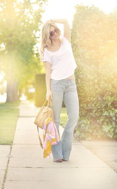 Jeans & a White T Outfit No. 8  ~ Faded 70's