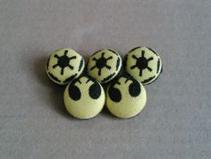 Star Wars yellow Jedi and Empire buttons set by AbandonedWarehouse Fabric Covered Button, Covered Buttons, Star Trek, Empire, Stars, Yellow, Etsy, Gold