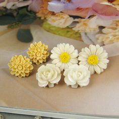 Pretty flower post earring  set of 3 pairs Set4 by silverbreeze, $7.80