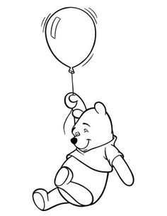 Winnie The Pooh and Four Balloons Coloring Page: Winnie The Pooh ...
