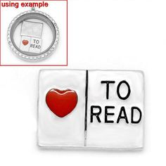 4 LOVE TO READ Book Floating Charms for Memory Lockets, crystal rhinestone, enamel, silver tone metal, che0449 by SmartParts on Etsy