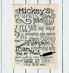 Hey, I found this really awesome Etsy listing at https://www.etsy.com/listing/206171772/mickeys-pumpkin-pie-recipe-dictionary