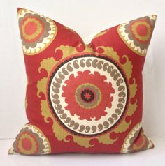 Suzani Pillow Red Pillow Decorative Throw Pillow by nestables, $20.00