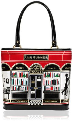 Lulu Guinness Black Book Shop Medium Edith in Black. Bookish and gorgeous!  I so want this!!