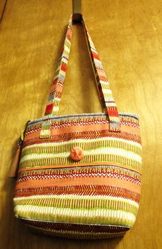 Canvas Striped Tote Bag Striped Tote Bags, Beaded Bags, Scarf Wrap, Purses And Bags, Scarves, Wraps, Shoulder Bag, Sewing, Handmade