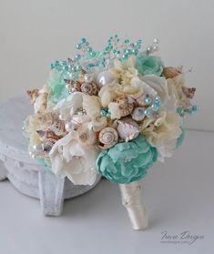 Conchas marinas boda ramo de flores. Ramo de boda turquesa y marfil. Ramo de Novia de playa. Accesorios de la boda de playa