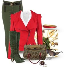 """""""Red & Green Casual Chic"""" by passion-fashion-2 on Polyvore"""