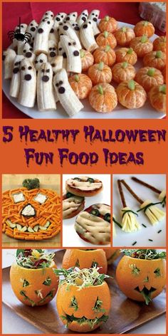 5 Healthy Halloween Fun Food Ideas Halloween doesn't have to be only about eating candy. Create delicious and healthy treats everyone will love with these 5 Healthy Halloween Fun Food Ideas. Plat Halloween, Dulces Halloween, Halloween Appetizers, Halloween Dinner, Halloween Food For Party, Halloween Birthday, Halloween Kids, Halloween Humor, Healthy Halloween Snacks